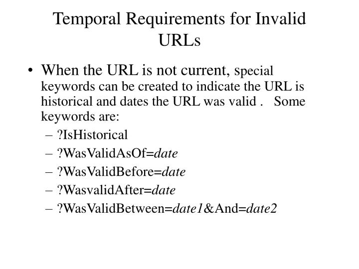 Temporal Requirements for Invalid URLs