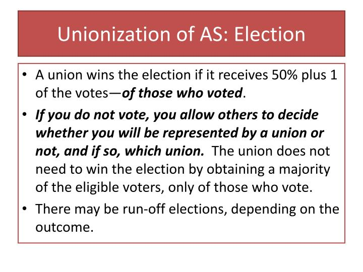 Unionization of AS: Election