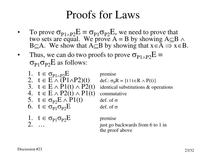 Proofs for Laws