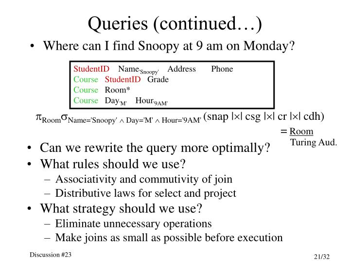 Queries (continued…)