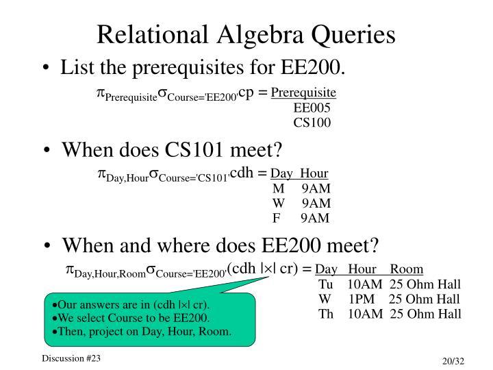 Relational Algebra Queries