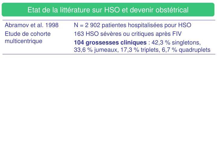 Etat de la littérature sur HSO et devenir obstétrical