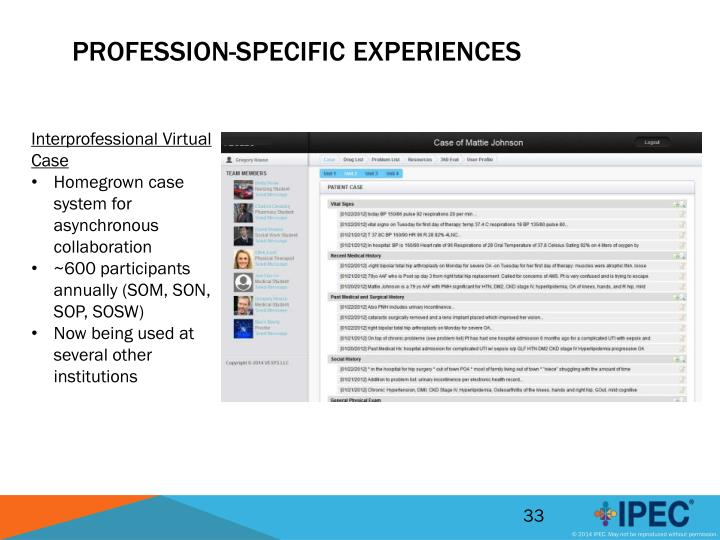 Profession-Specific Experiences