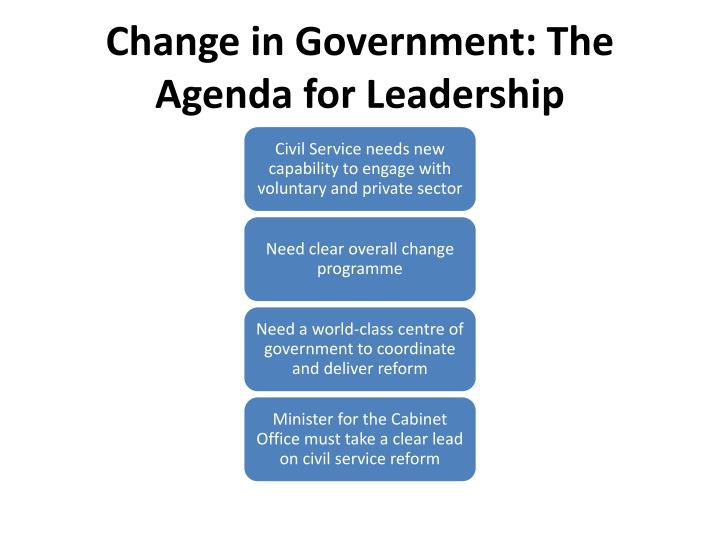 Change in Government: The Agenda for Leadership