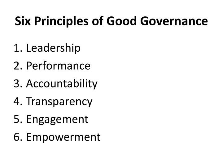 Six Principles of Good Governance