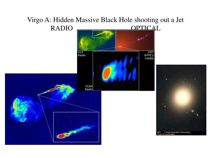 Virgo A: Hidden Massive Black Hole shooting out a Jet