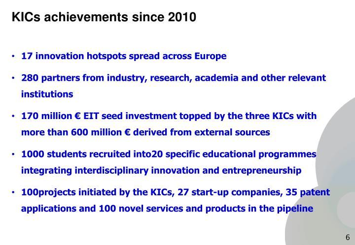 KICs achievements since 2010