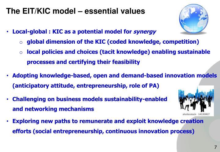 The EIT/KIC model – essential values