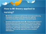 how is mi theory applied to nursing