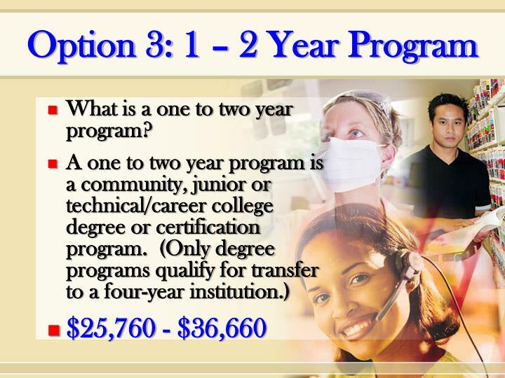 Option 3: 1 – 2 Year Program