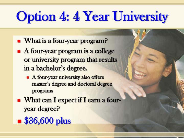 Option 4: 4 Year University