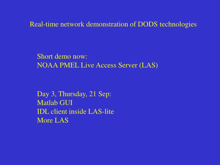 Real-time network demonstration of DODS technologies