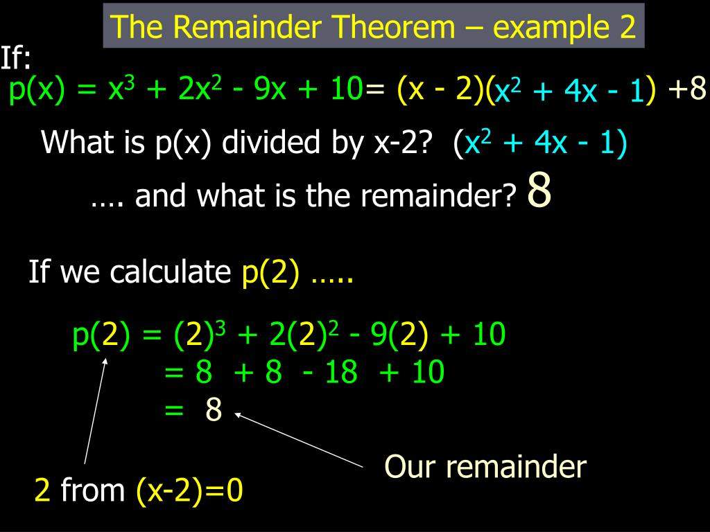 PPT - Remainder And Factor Theorem PowerPoint Presentation