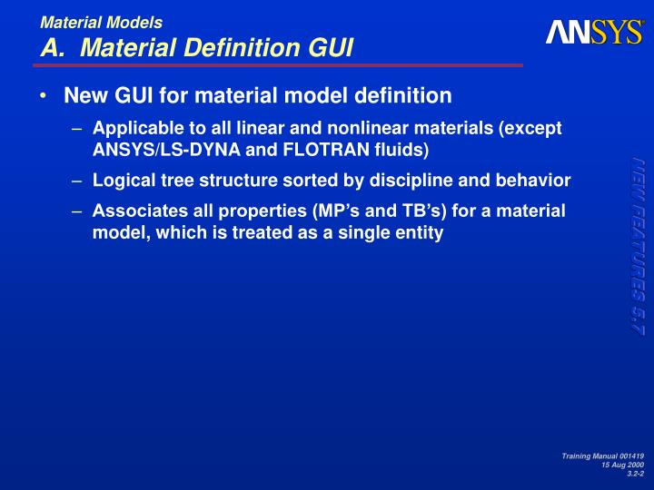 Material models a material definition gui