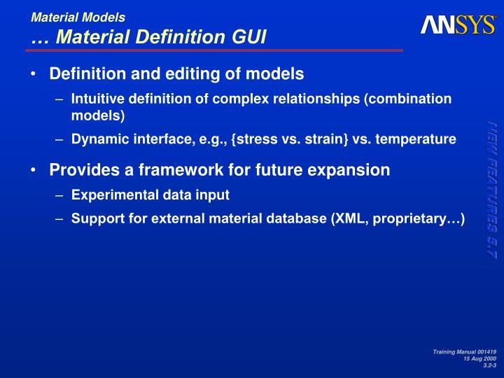 Material models material definition gui