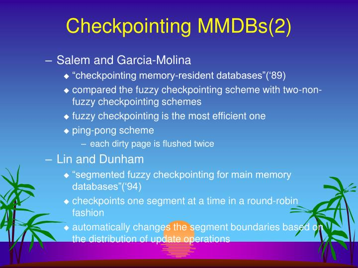 Checkpointing MMDBs(2)