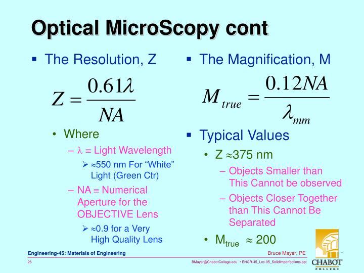 Optical MicroScopy cont