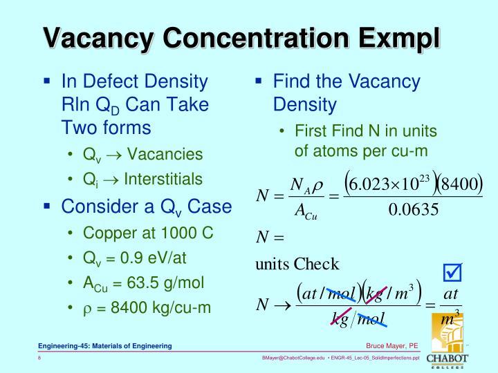Vacancy Concentration Exmpl