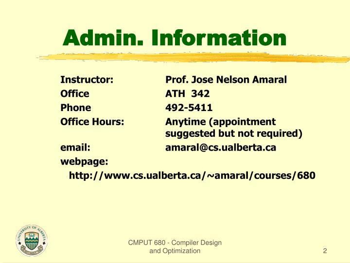 Admin information