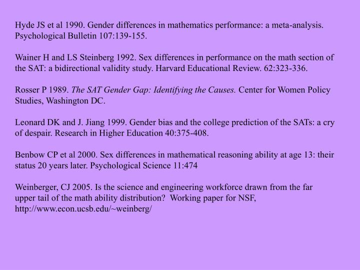 gender differences in mathematics performance This study investigates gender differences in performance on the mathematics component on the standard 3 national assessment in trinidad and tobago.