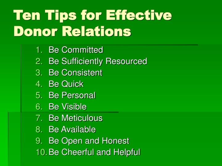 Ten Tips for Effective Donor Relations