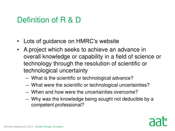 Definition of R & D