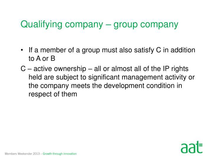 Qualifying company – group company