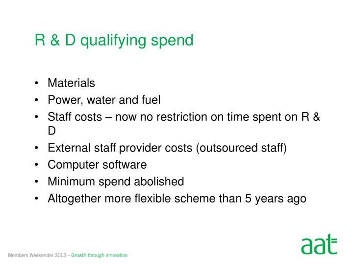 R & D qualifying spend