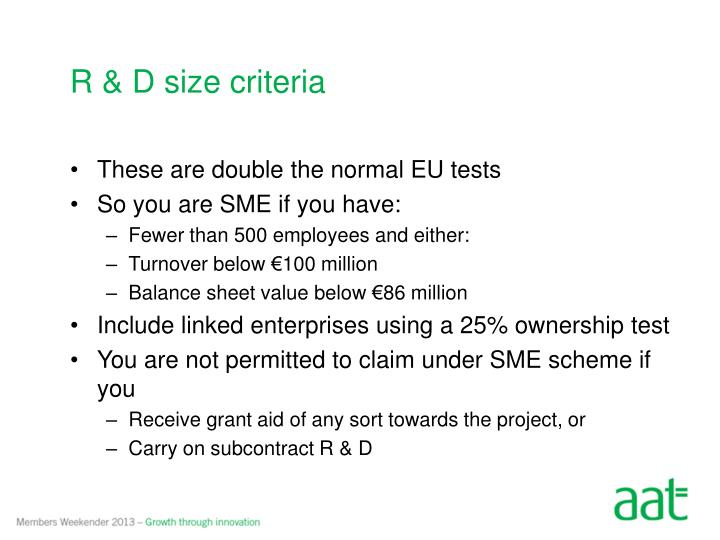 R & D size criteria