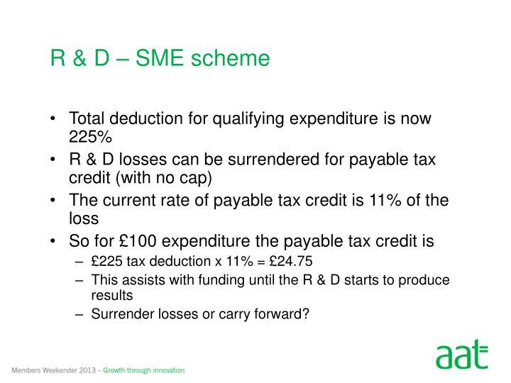 R & D – SME scheme