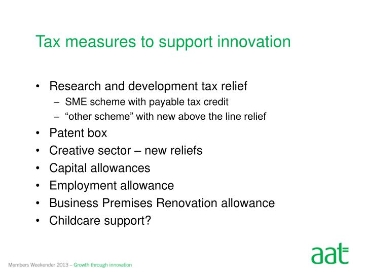 Tax measures to support innovation