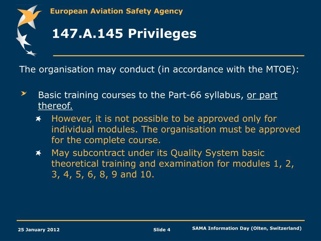 PPT - Part-147: Maintenance Training Organisations (Annex IV to EC