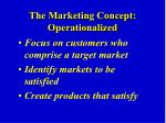 the marketing concept operationalized