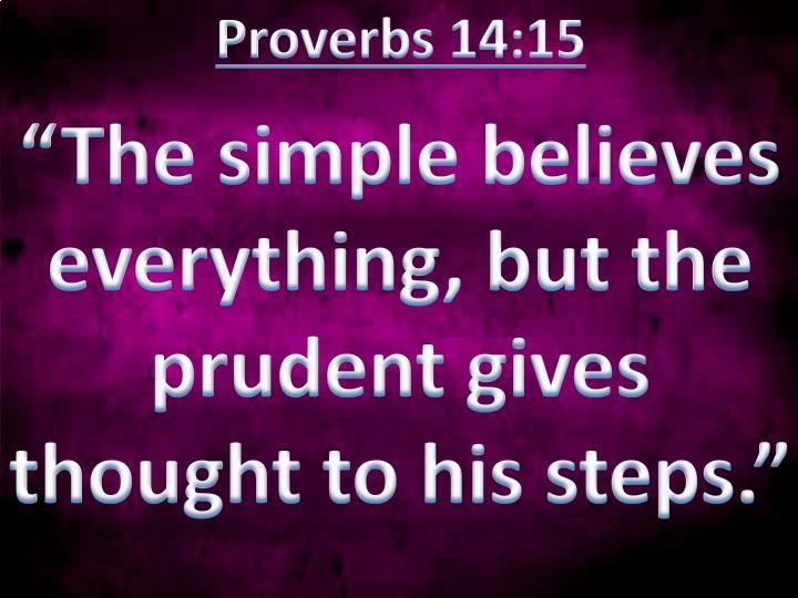 Proverbs 14:15