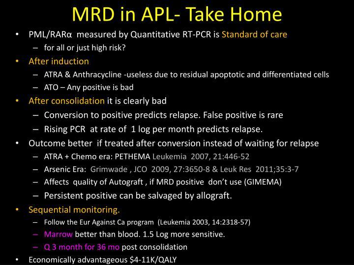 MRD in APL- Take Home