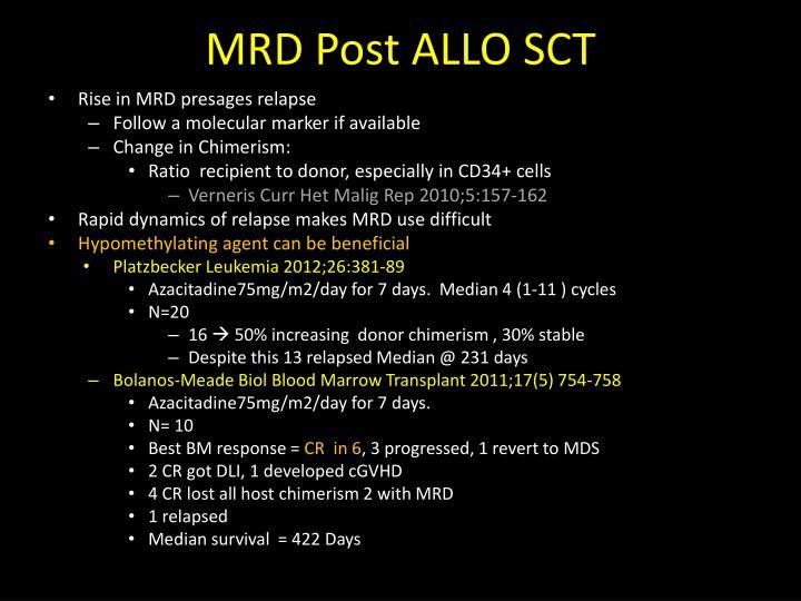 MRD Post ALLO SCT
