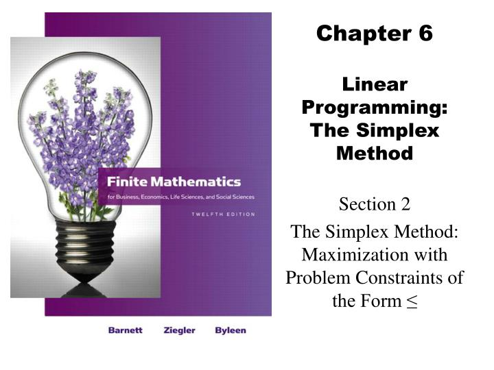 chapter 6 linear programming the simplex method
