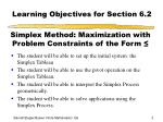 learning objectives for section 6 2