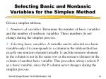 selecting basic and nonbasic variables for the simplex method