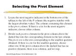 selecting the pivot element