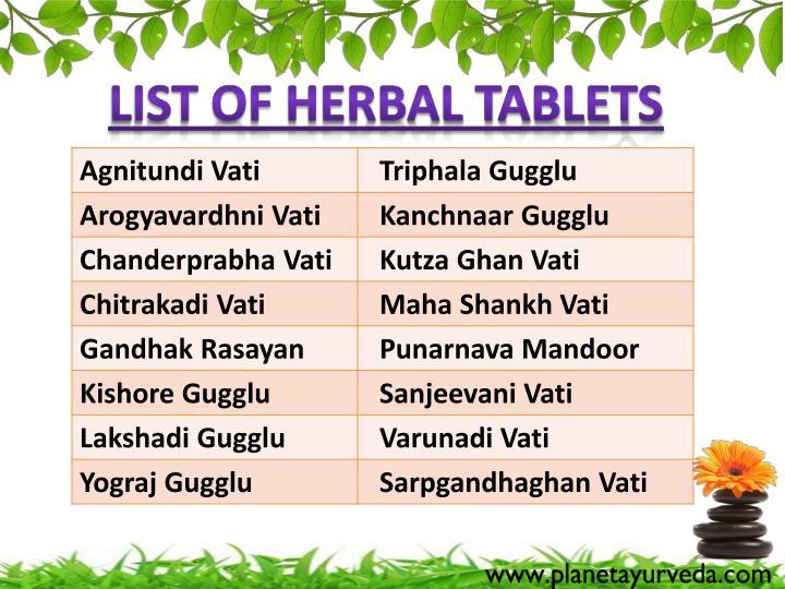 List of Herbal Tablets