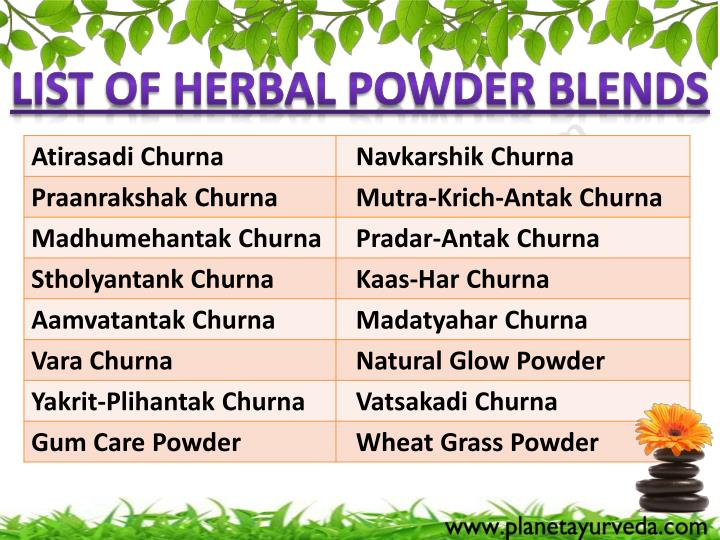 List of Herbal Powder Blends