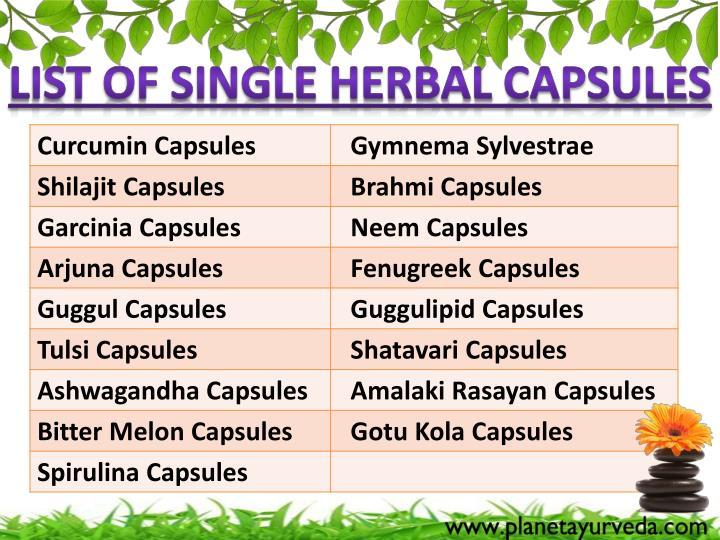 List of Single Herbal Capsules