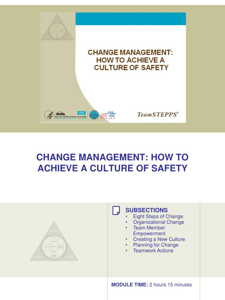 change management how to achieve a culture of safety n.