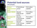 potential fund sources per annum