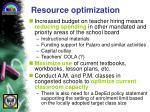 resource optimization