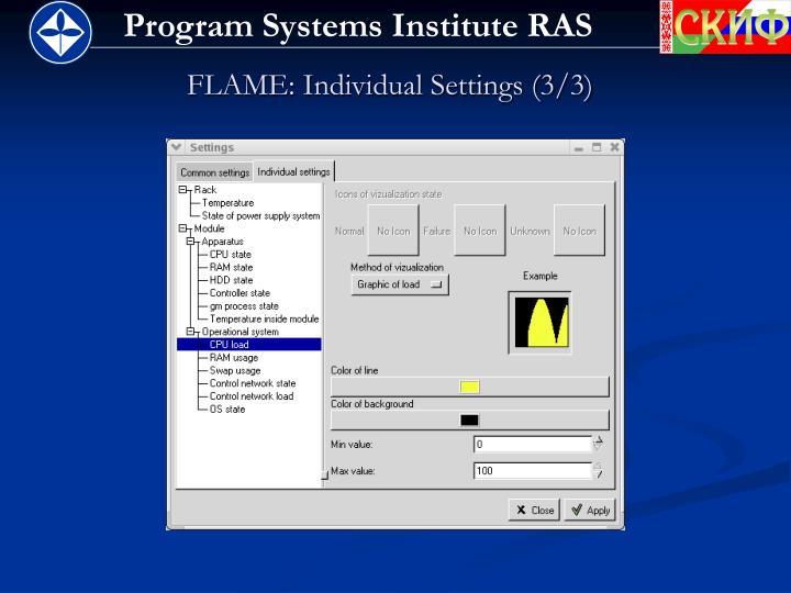 FLAME: Individual Settings (3/3)
