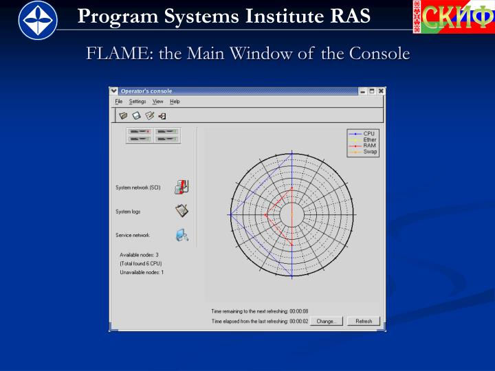 FLAME: the Main Window of the Console