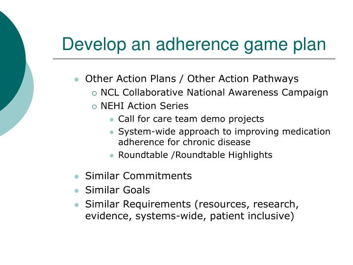 Develop an adherence game plan