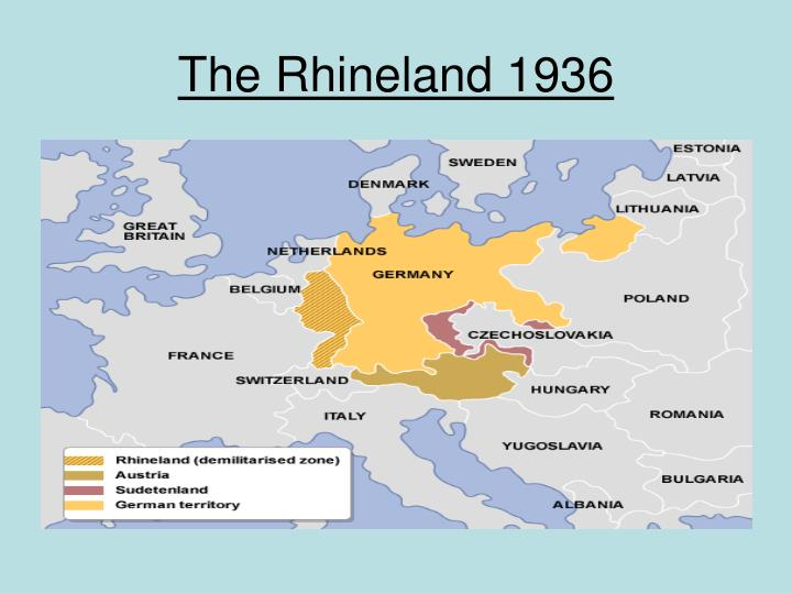 an overview of hitlers remilitarization of the rhineland in march 1936 Remilitarization of the rhineland in 1936 refers to the military operations of redeployment of troops in its territory of rhineland, which was designated as demilitarized zone after world war 1 ended and the military action of germany again undermined the treaty of versailles signed after the war.
